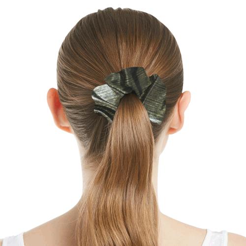 Silver Satin All Over Print Hair Scrunchie