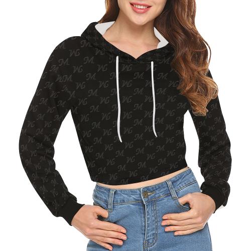 Mud-di Signature Upsidedown Black Snug All Over Print Crop Hoodie for Women (Model H22)