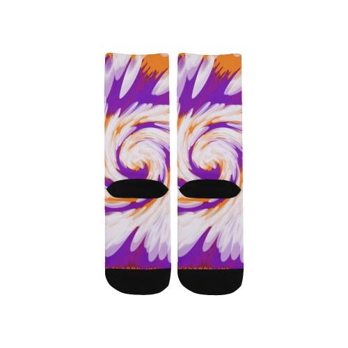 Purple Orange Tie Dye Swirl Abstract Kids' Custom Socks