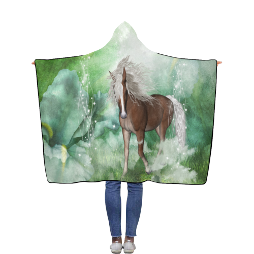 Horse in a fantasy world Flannel Hooded Blanket 50''x60''