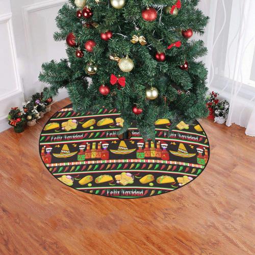 "Feliz Navidad Ugly Sweater on Black Christmas Tree Skirt 47"" x 47"""