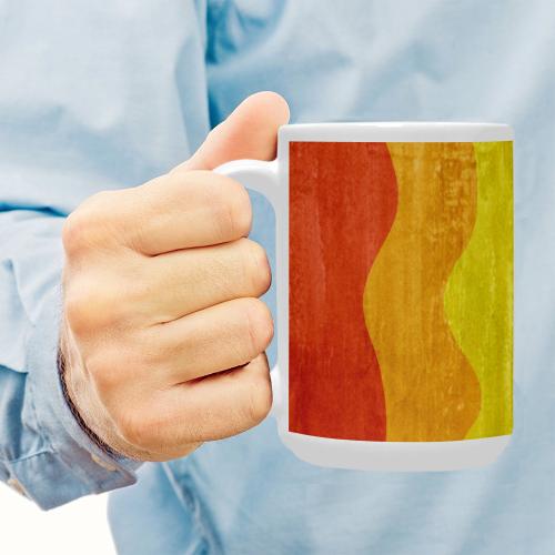 Gay Pride - Rainbow Flag Waves Stripes 3 Custom Ceramic Mug (15OZ)