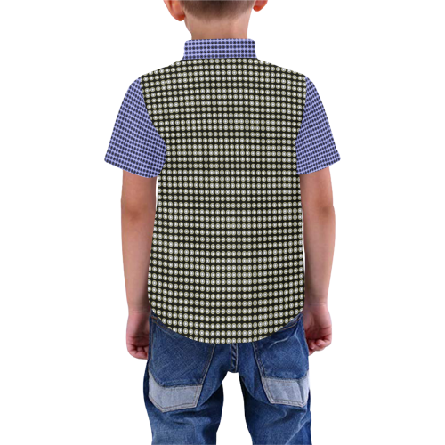 Blue Black Checks Mod TwoTone Boys' All Over Print Short Sleeve Shirt (Model T59)