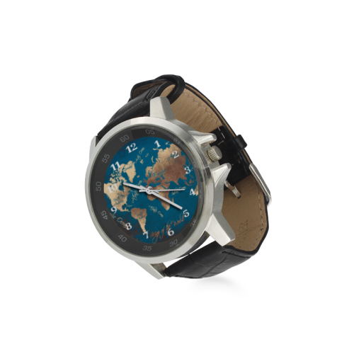 world map watch 6 Unisex Stainless Steel Leather Strap Watch(Model 202)