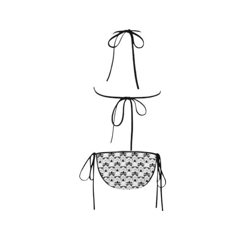 White Background Stormie Helmet Print String Bikini Custom Bikini Swimsuit