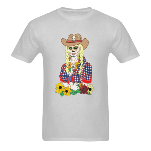 Cowgirl Sugar Skull Grey Men's Heavy Cotton T-Shirt (One Side Printing)
