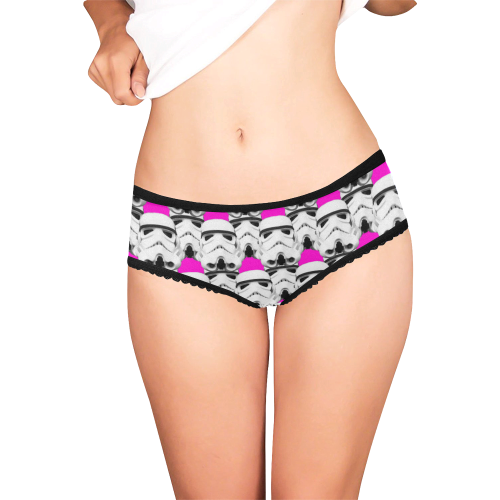 Hot Pink Background Stormtrooper Helmet Print Briefs 2 Women's All Over Print Girl Briefs (Model L14)
