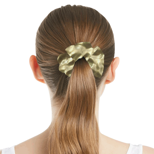 Gold Metallic All Over Print Hair Scrunchie