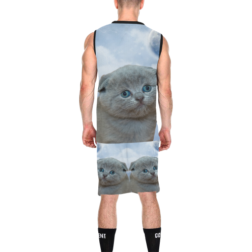 Lonely Little Kitty All Over Print Basketball Uniform