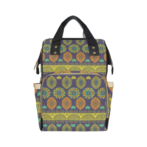 Ethnic Bohemian Purple, Green, and Orange Multi-Function Diaper Backpack (Model 1688)