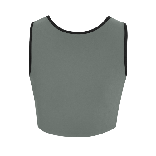 funny tank top wordgame for geeks, nerds and soldiers in military grey Women's Crop Top (Model T42)