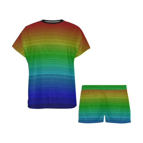 Dark Rainbow Stripes Women's Short Pajama Set (Sets 01)