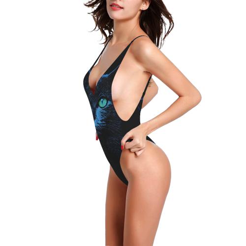 BLUE KORAT CAT GRACE Sexy Low Back One-Piece Swimsuit (Model S09)