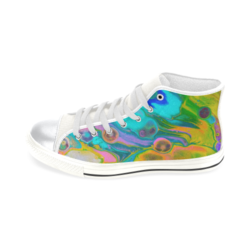 rainbow waves. High Top Canvas Women's Shoes/Large Size (Model 017)