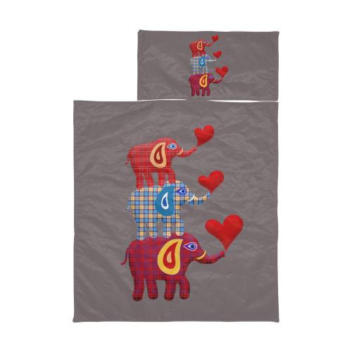 Stacked Plaid Elephants Grey Kids' Sleeping Bag