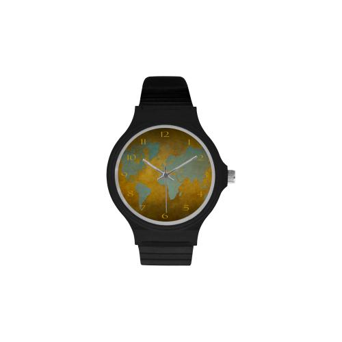 clock world map 5a watch Unisex Round Plastic Watch(Model 302)