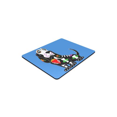 Basset Hound Sugar Skull Blue Rectangle Mousepad