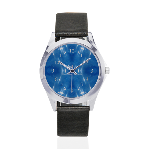 Garkle Blue Unisex Silver-Tone Round Leather Watch (Model 216)