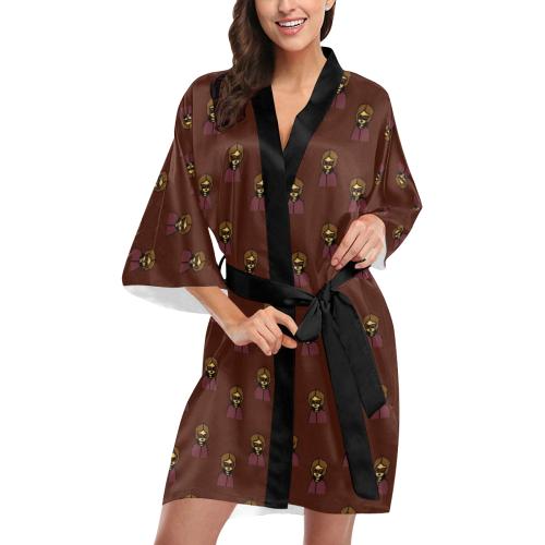 nerdy 60s  girl pattern red Kimono Robe