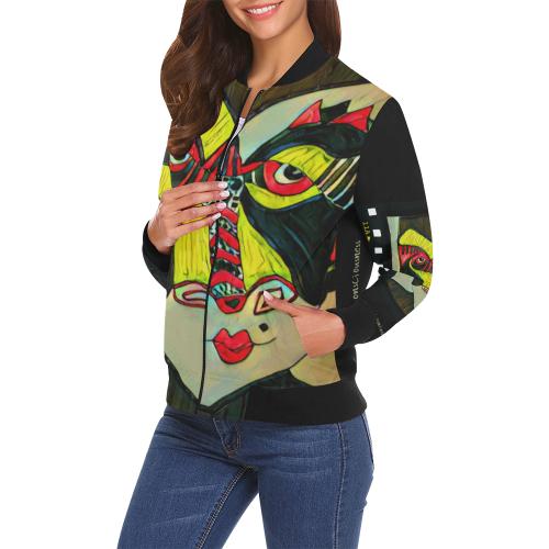 Stream Consciousness Hidden Meaning Film All Over Print Bomber Jacket for Women (Model H19)