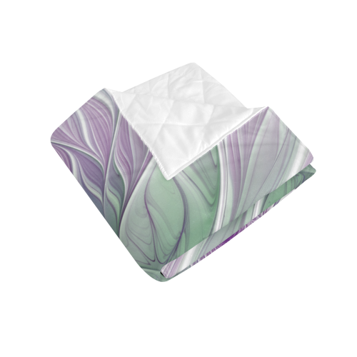 "Flower Dream Abstract Purple Sea Green Floral Fractal Art Quilt 70""x80"""