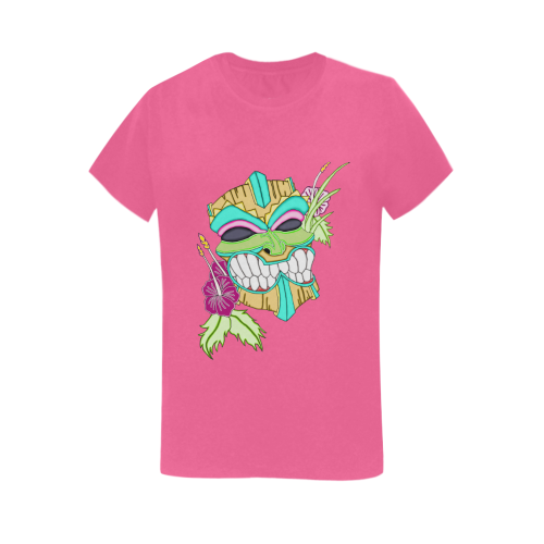 Tropical Tiki Mask Pink Women's Heavy Cotton Short Sleeve T-Shirt
