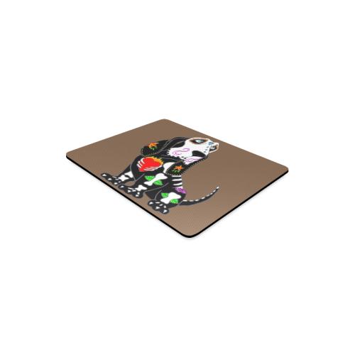 Basset Hound Sugar Skull Brown Rectangle Mousepad