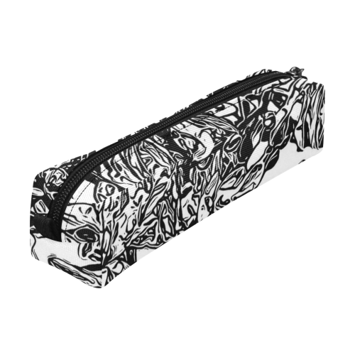 Inky Black and White Floral 2 by JamColors Pencil Pouch/Small (Model 1681)