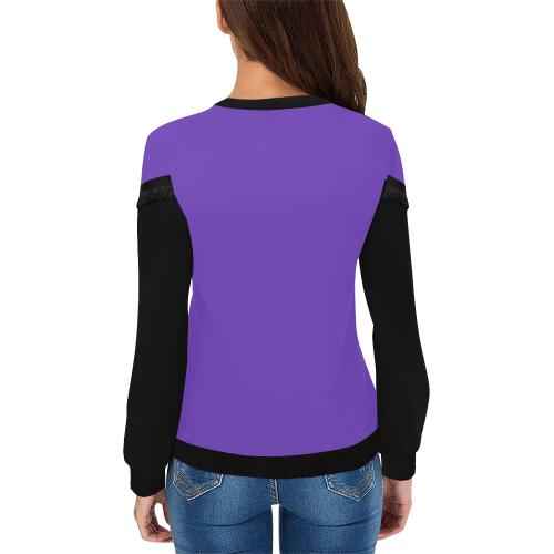 Keep Hope Alive Hands Purp Women's Fringe Detail Sweatshirt (Model H28)