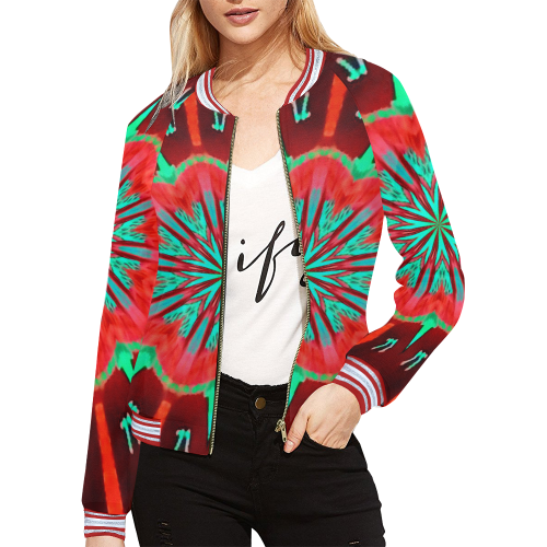 zo d yak All Over Print Bomber Jacket for Women (Model H21)