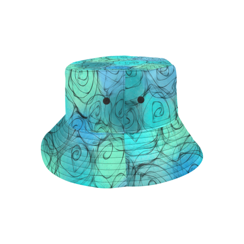 Blue Pastel Roses. Inspired by the Magic Island of Gotland. All Over Print Bucket Hat