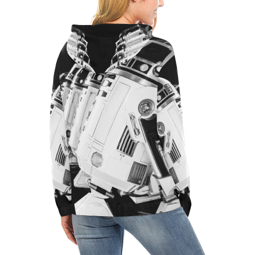 Women's Black Droid Line Hoodie All Over Print Hoodie for Women (USA Size) (Model H13)