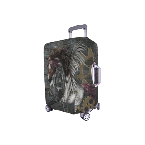 """Steampunk, awesome steampunk horse with wings Luggage Cover/Small 18""""-21"""""""