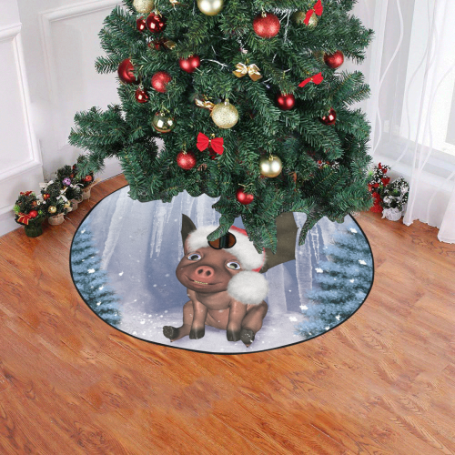 """Christmas, cute little piglet with christmas hat Christmas Tree Skirt 47"""" x 47"""""""