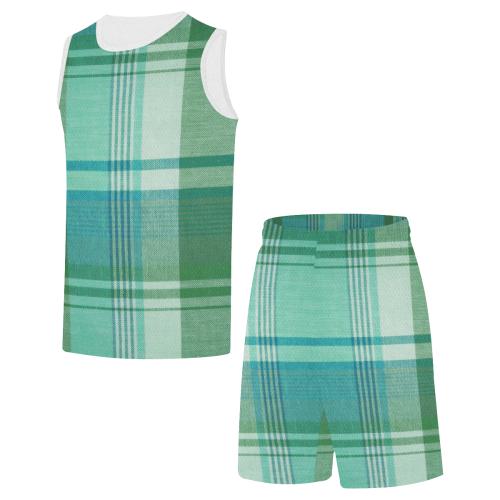 TARTAN GREEN-123 All Over Print Basketball Uniform