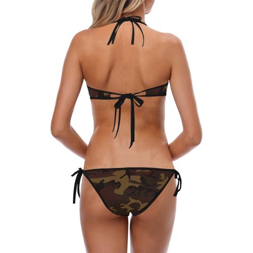 Camo Dark Brown Custom Halter & Side Tie Bikini Swimsuit (Model S06)