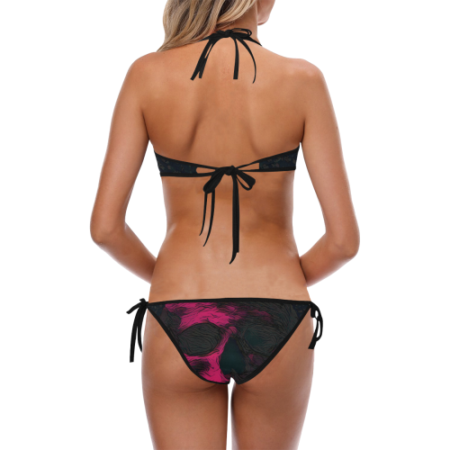 SKULL ART PINK ON BLACK Custom Halter & Side Tie Bikini Swimsuit (Model S06)