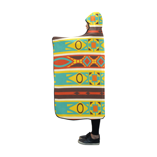 Ovals rhombus and squares Hooded Blanket 60''x50''