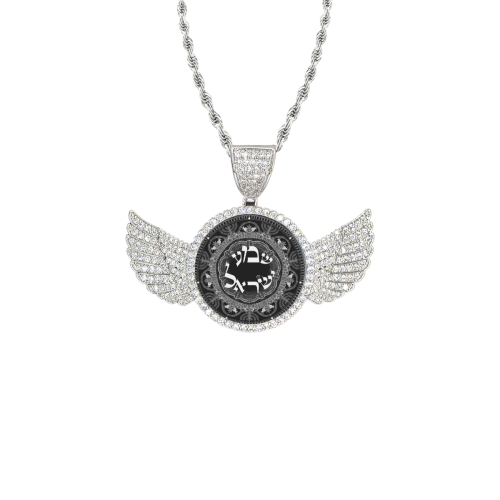 shema Israel2 Wings Silver Photo Pendant with Rope Chain