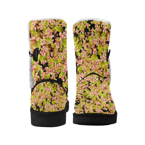 Flower Pattern Unisex Single Button Snow Boots (Model 051)