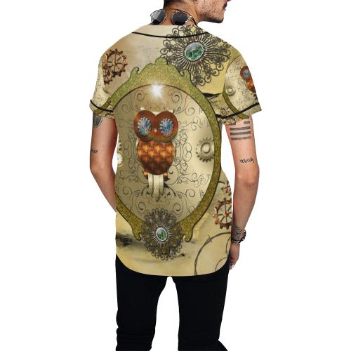 Steampunk, wonderful owl All Over Print Baseball Jersey for Men (Model T50)