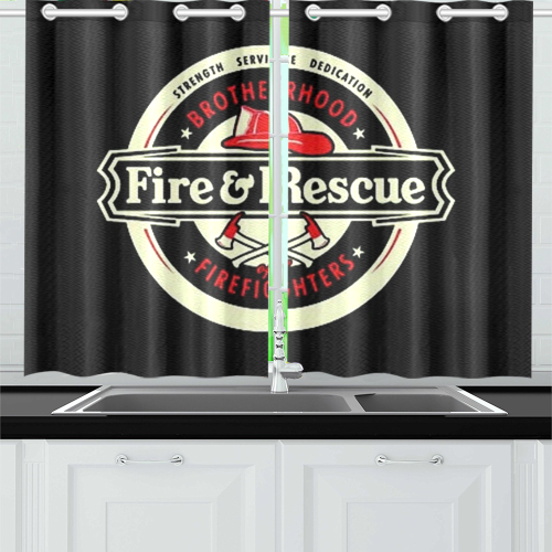 Brotherhood Firefighters Fire And Rescue Kitchen Curtain 26'' X 39''(2 Pieces, 1 Design)