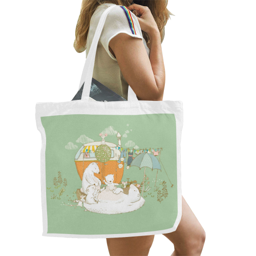 Happy Camping Bears Canvas Tote Bag/Large (Model 1702)