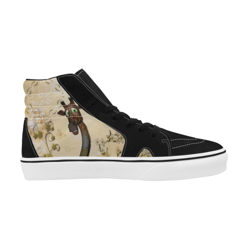 Funny steampunk giraffe Women's High Top Skateboarding Shoes/Large (Model E001-1)
