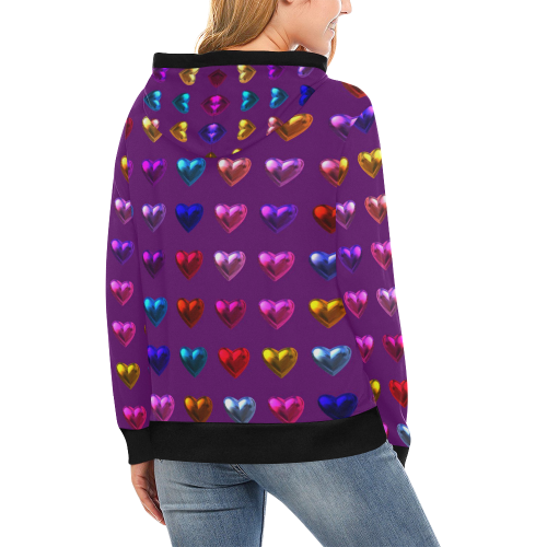 shiny hearts 4 High Neck Pullover Hoodie for Women (Model H24)