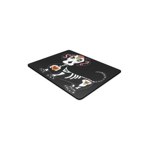 Dachshund Sugar Skull Black Rectangle Mousepad