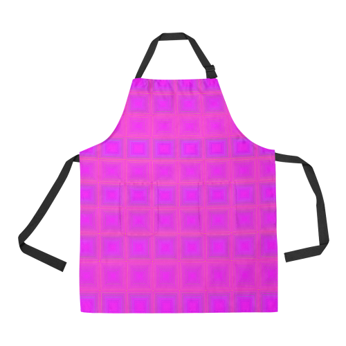 Pink golden multicolored multiple squares All Over Print Apron