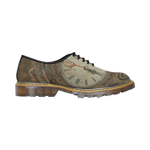 Steampunk clock, cute giraffe Men's Wholecut Dress Shoes (Model 4026)
