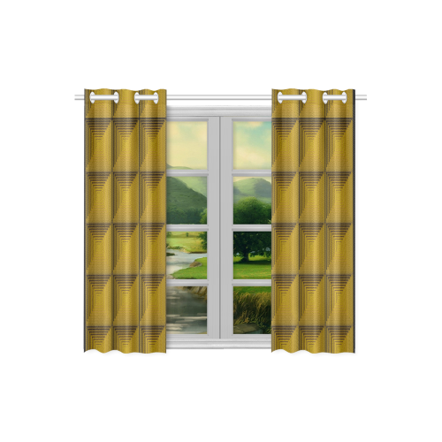 Yellow green multicolored multiple squares Kitchen Curtain 26'' X 39''(2 Pieces, 1 Design)