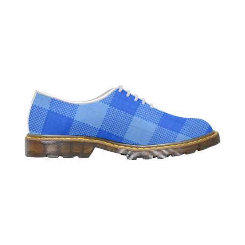 Soft Blue Plaid Women's Wholecut Dress Shoes (Model 4026)